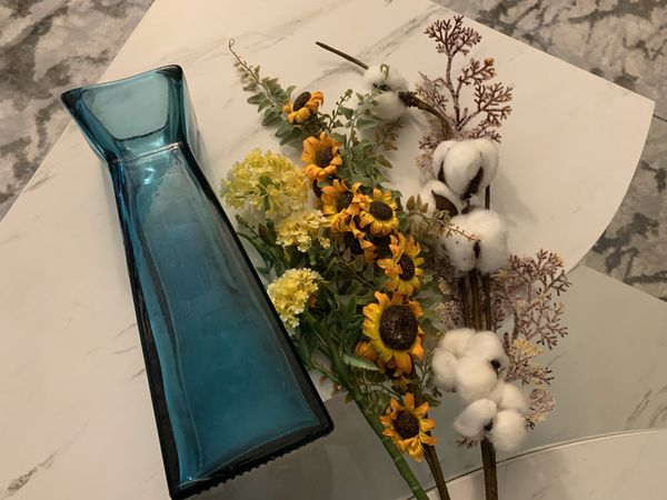 Vase and fake flower