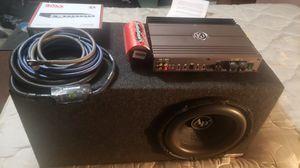 Audiopipe ttxbd2 dvc 12in sub, atrend ported box,Memphis pr1.500 mono amp ,4ga kicker wire, fosgate 500k lightning cap for Sale in BRUSHY FORK, WV