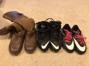Girls boots and soccer shoes for Sale in Aurora, CO