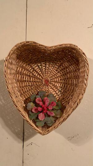 Rattan heart shape wall basket for Sale in Whittier, CA