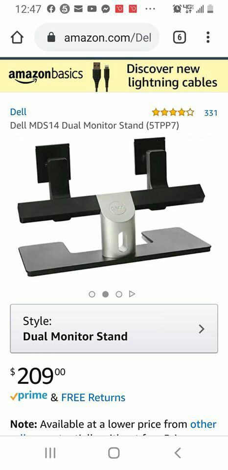 Dell MDS14 dual monitor stand OBO