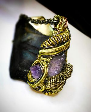 Spirit Quartz and Amethyst Wire wrapped pendant for Sale in Peoria, AZ