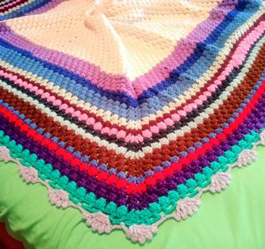 Hand Crocheted Square Afghan 50x50 Throw Blanket White Purple Blue Red for Sale in Dallas, TX