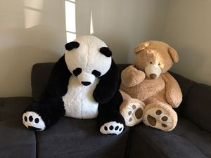 Panda & teddy bear plush life size/big animals for Sale in Rocky Hill, CT