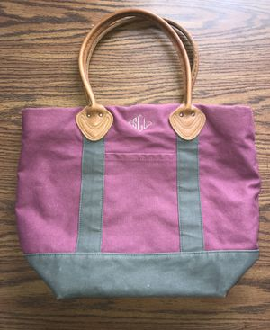L.L. Bean Canvas Bag Purple Burgundy Leather for Sale in Indianapolis, IN