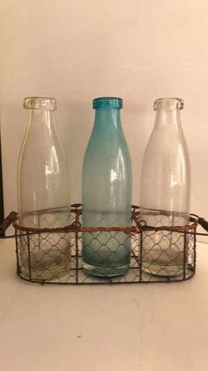 Antique milk bottles and wire basket for Sale in Los Angeles, CA