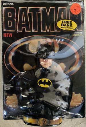 Vintage 1989 Ralston BATMAN Cereal Box Collectible Coin Bank Toy (SEALED) for Sale in Orange, CA