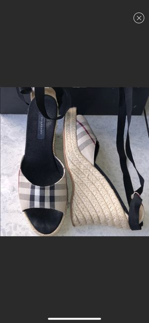 Burberry tie up Spadrille wedges for Sale in Hesperia, CA