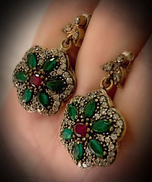 RUBY EMERALD FLOWER EARRINGS Solid 925 Sterling Silver/Gold WOW! Brilliant Facet Round/Marquise Cut Gems, Diamond Topaz M5567 V for Sale in San Diego, CA