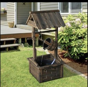 Wishing Well Wooden Outdoor Electric Water Fountain Backyard Decorative w/Pump for Sale in Frisco, TX