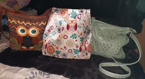 Lot of 3 Owl Purses Satin Tote Bag Brown Owl Purse for Sale in Oakbrook Terrace, IL