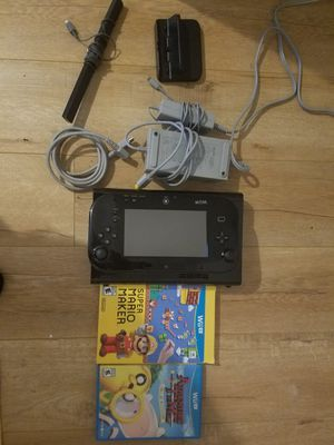 Nintendo wii u console black 32gb with Mario Maker and Adventure Time Game for Sale in Torrance, CA