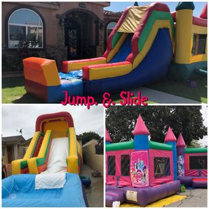 Jumpers chairs tables canopies portable restrooms waterslides and party supply for Sale in Los Angeles, CA