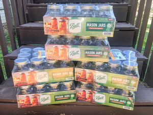 Ball - 12pk 16oz Clear Regular Mouth Mason Jars with Lids and Bands for Sale in Locust Grove, GA