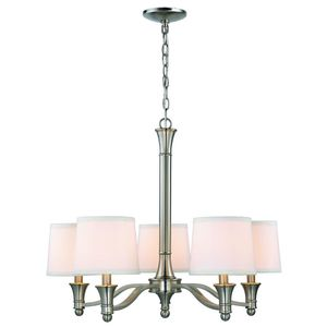Brand new 5-Light Brushed Nickel Chandelier with White Fabric Shades for Sale in Nashville, TN