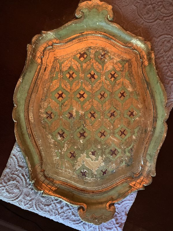 Vintage Italian wooden carved serving tray