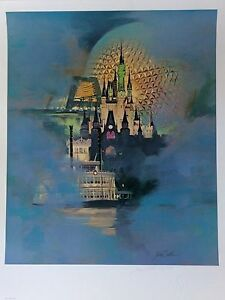 """Walt Disney World 15th Anniversary """"Magical Dreams"""" Lithograph signed and numbered by Jim Noble with Certificate of Authenticity-framed for Sale in Chandler, AZ"""