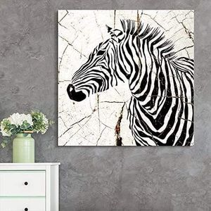 ((FREE SHIPPING)) square canvas wall art - zebra head wood effect canvas - giclee print gallery wrap modern home decor Painting like print for Sale in Mountain View, CA