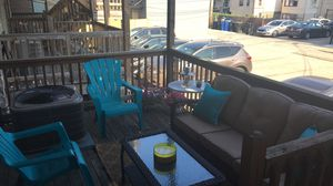 Outdoor Patio Furniture - Coffee Table, Rug, Throw Pillows for Sale in Hammond, IN