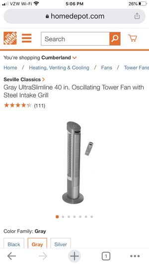 Gray UltraSlimline 40 in. Oscillating Tower Fan with Steel Intake Grill for Sale in Arcadia, CA
