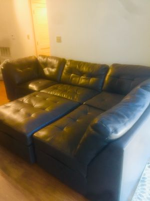 L shaped leather couch with ottoman for Sale in Silver Spring, MD
