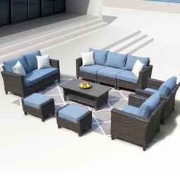Patio Outdoor Furniture Sets-High Back Wicker-10 Piece for Sale in Diamond Bar,  CA