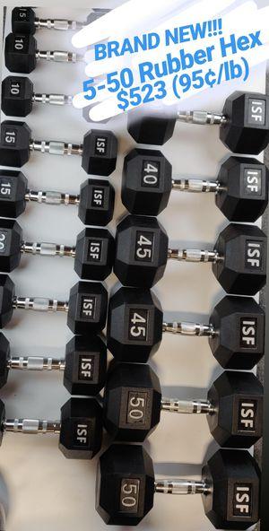NEW 5-50 Rubber Hex Dumbbells Set Price Firm Bellmawr, NJ for Sale in Bellmawr, NJ