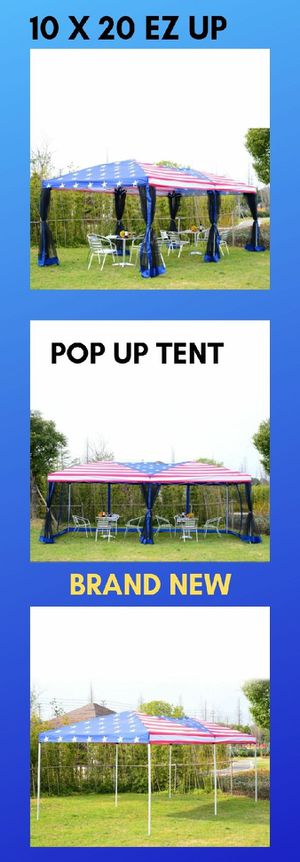 10x20 EZ Pop Up Party Wedding Tent Patio Gazebo Canopy Outdoor Mesh US Flag Bag for Sale in Henderson, NV