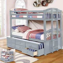 🎵Menlo Gray Twin Over Twin Bunk Bed with Storage Drawers and Twin Trundle🎵⏰39 DOWN⏰ for Sale in Houston,  TX