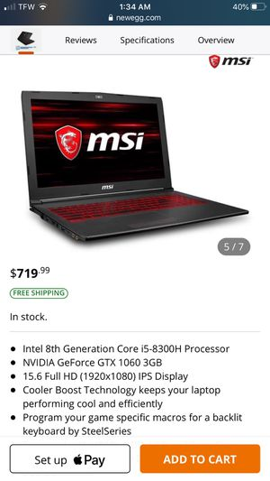 MSI gaming laptop rarely used adult owned! for Sale in El Paso, TX