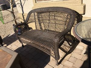 Outdoor furniture loveseat/ bench with four chairs for Sale in Apache Junction, AZ