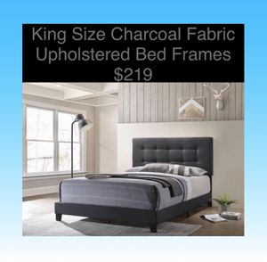 King Size Bed Frames Charcoal Fabric (New) Same Day Delivery Available for Sale in Atlanta, GA