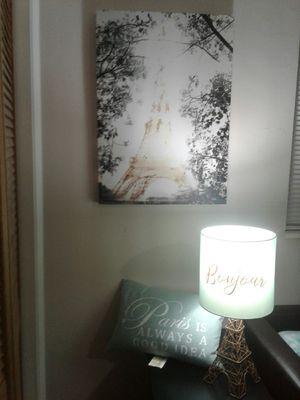Paris Canvas, Lamp, Pillow Decor for Sale in Miami, FL