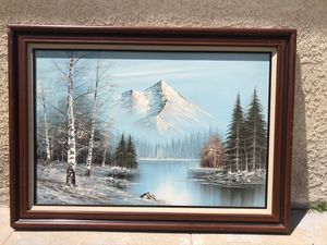"Snow cap mountain winter river painting with gorgeous wood frame 42""x31"" for Sale in Alhambra, CA"