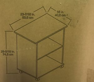 2 shelf dark wood cabinet with wheels. Utility cart for Sale in Halethorpe, MD