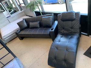 Black leather futon and chaise!! for Sale in North Fort Myers, FL