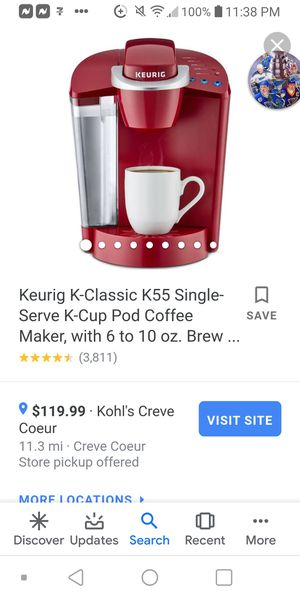 Keurig® K-Classic® K55 Single-Serve K-Cup Pod® Coffee Maker, with 6 to 10 oz. Brew Size for Sale in St. Louis, MO