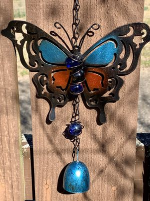 Blue & Red Bronze Metal Butterfly Wind Chime Sun Catcher for Sale in Nashville, TN