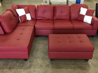 Red Leather Sectional Couch And Ottoman for Sale in Bellevue,  WA