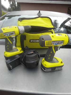 Set of 2 Ryobi drills with battery charger and bag for Sale in North Lauderdale, FL