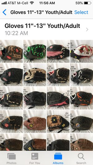 """Gloves Size 11""""-14"""" Youth and Adult Baseball and Softball. Price Varies. for Sale in Henderson, KY"""