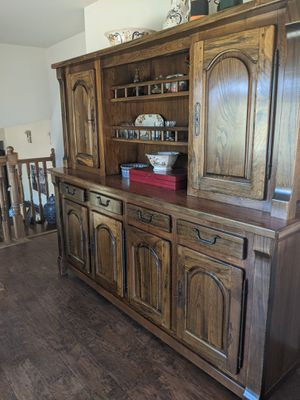 Beautiful elm hutch and dining table for Sale in Golden Hills, CA