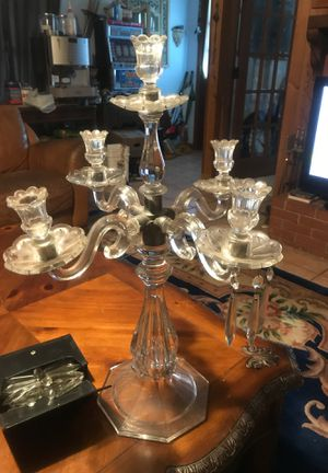 Candelabra made of glass or crystal and pewter has the crystals in the box for Sale in Riviera Beach, FL