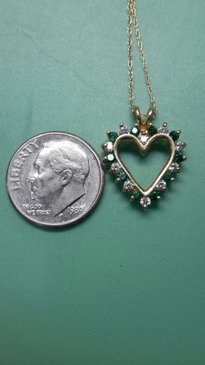 Genuine emerald and diamond heart for Sale in Longview, TX