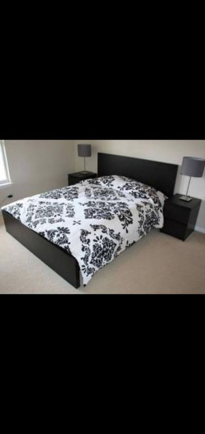 Very Nice Queen Ikea Malm Bed Frame and 2 Matching Nightstands (mattress sold separately) for Sale in Renton, WA