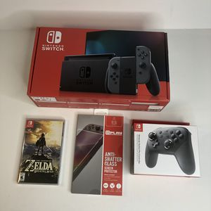 NEW Nintendo Switch Bundle Pro Controller Legend of Zelda Game Glass Cover for Sale in Placentia, CA