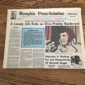 Original Newspaper From Elvis Presley's Death In 1977 for Sale in Rockville, MD