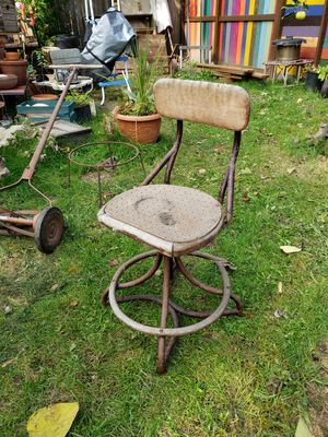 Antique rustic wood and steel chair for Sale in Beaverton, OR