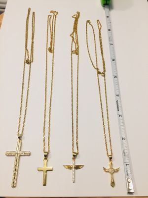 925 Italian Sterling Silver cross pendants and chains plated with 24K GOLD. for Sale in Baldwin Park, CA