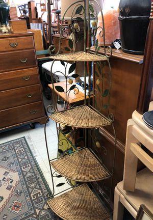 Metal and wicker corner shelf for Sale in Carrboro, NC